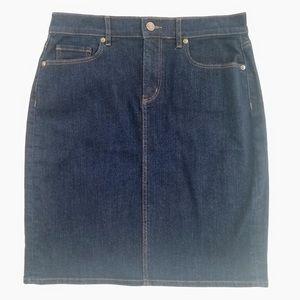 Ann Taylor Loft Dark Wash Denim Pencil Jean Skirt